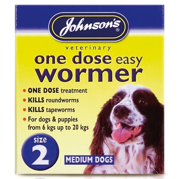 Johnsons Size 2 Dog One Dose Easy Worm Tablets (2 pack)
