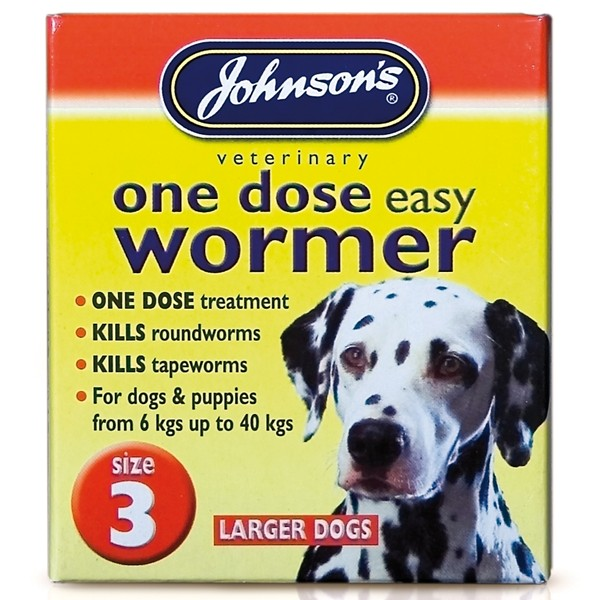 Johnsons Size 3 Dog One Dose Easy Worm Tablets (4 pack)