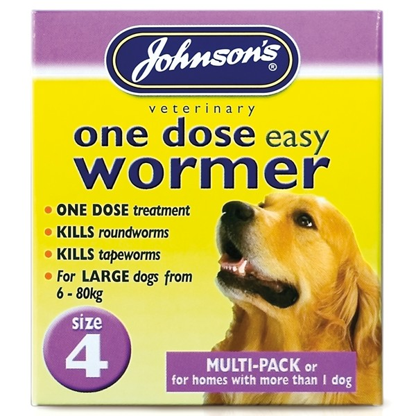 Johnsons 4 One Dose Easy Worm Dog (8 Tablets)