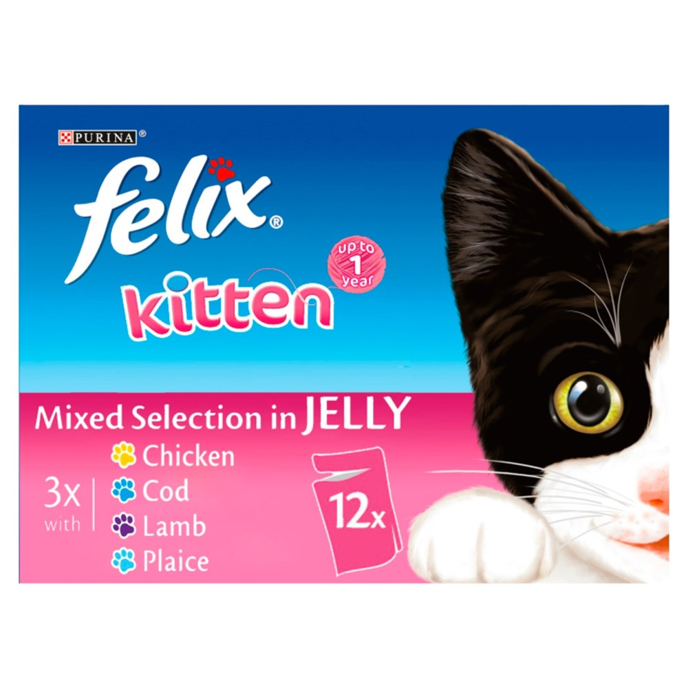 Felix Pouch Kitten Chunks in Jelly Mixed Selection 12 x 100g