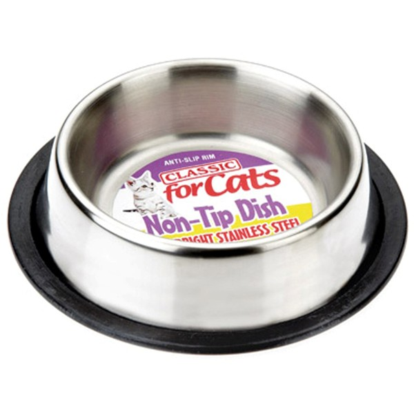 Non Tip Stainless Steel Dish With Rubber Base - 240ml