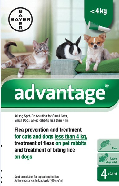 Advantage 40 Spot on for Small Cats/Dogs/Rabbit (4 pipetts)