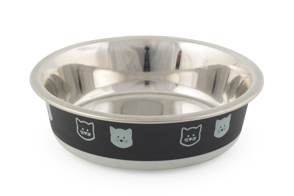 Fusion Stainless Steel Cat Bowl Black and Grey 12cm