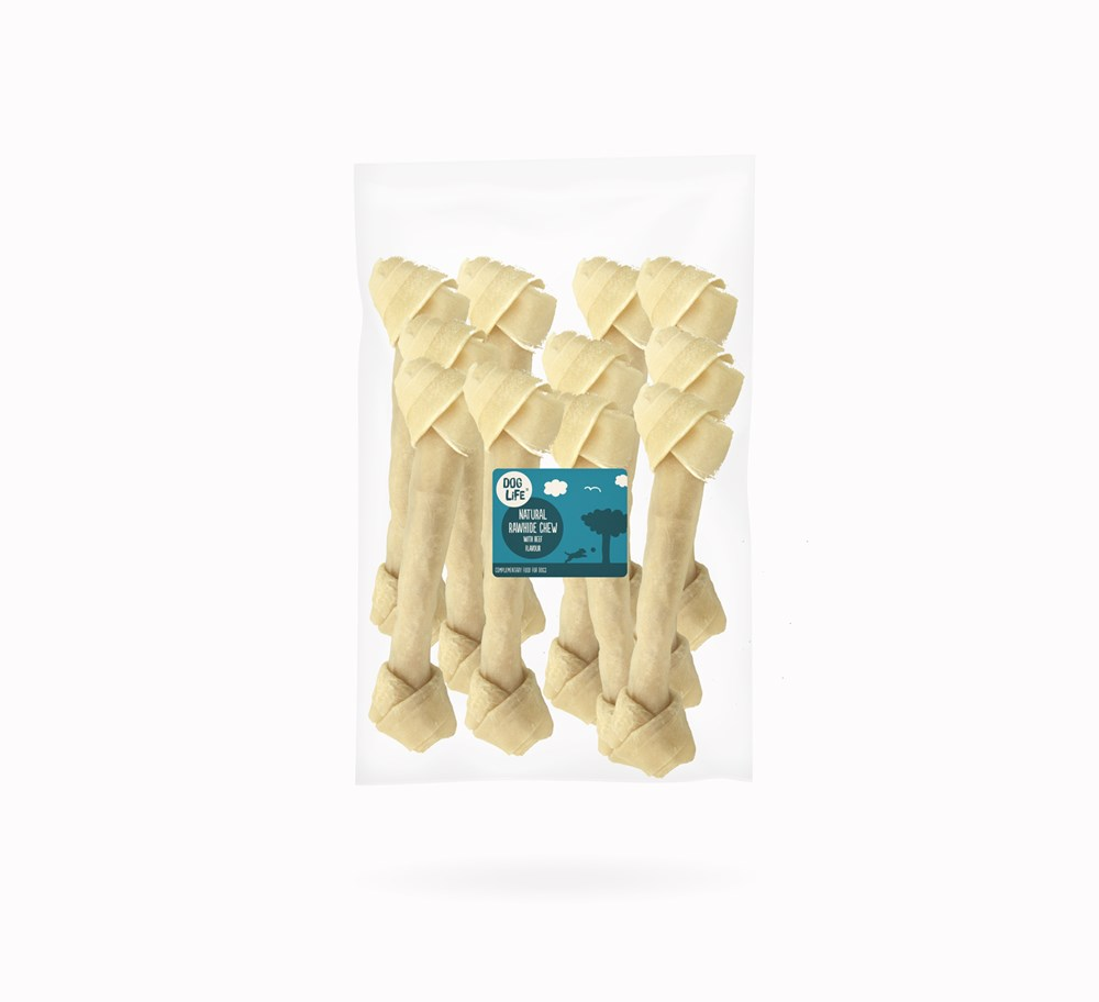 Rawhide Natural Knotted Bone 4.5inch 10 pack