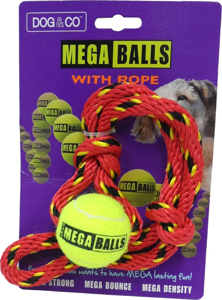 Mega Ball with Rope - Assorted Colours 4.5cm