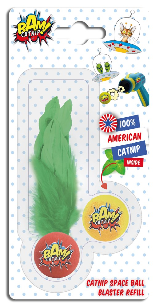 CATNIP POP GUN BALL & FEATHER BALL DUO