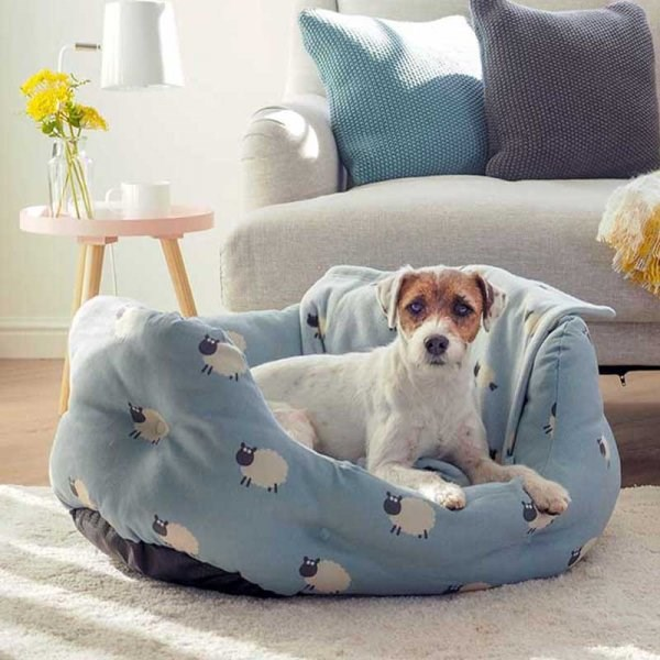 Counting Sheep Oval Plush Dog Bed - Small