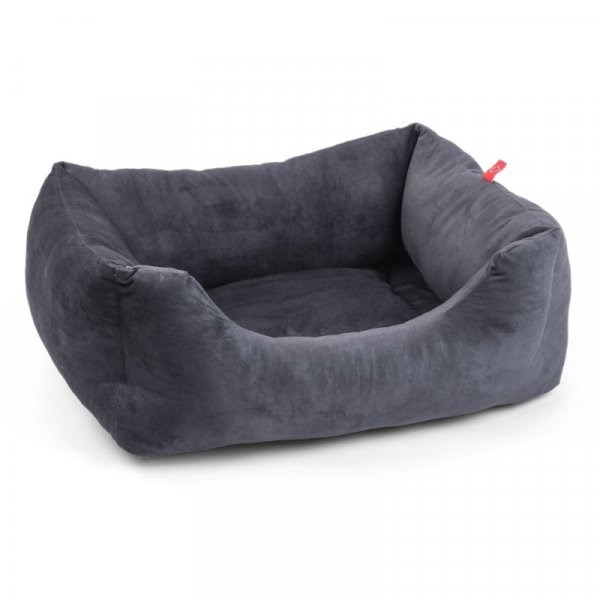 Velour Charcoal Grey Square Box Bed - Small