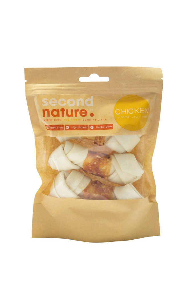 Second Nature Whitehide Knot Bone - Chicken Small
