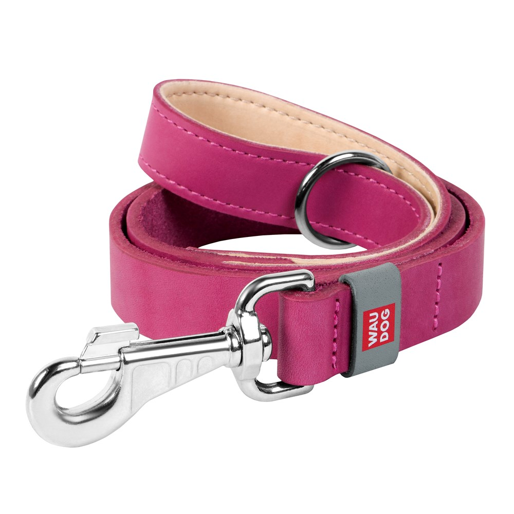 WAUDOG CLASSIC LEATHER LEAD PINK 14MM X 122CM