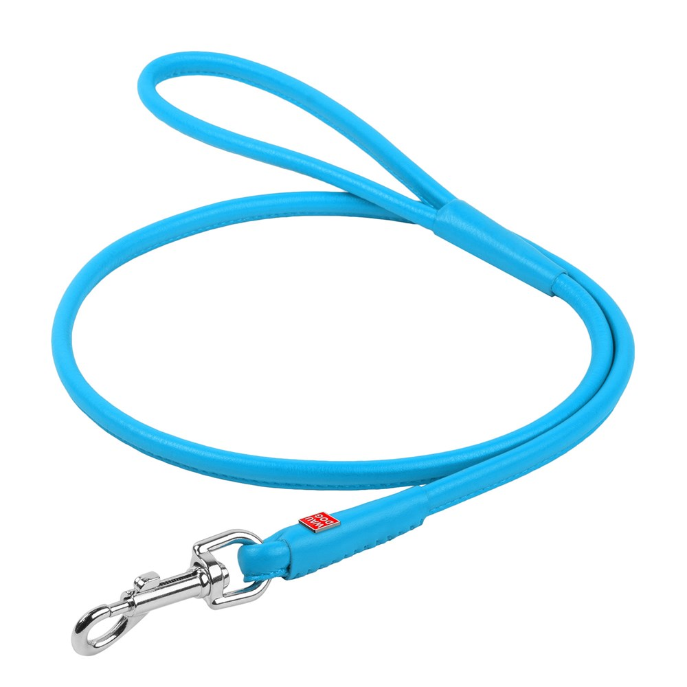 WAUDOG GLAM LEATHER ROUND LEAD 10MM BLUE