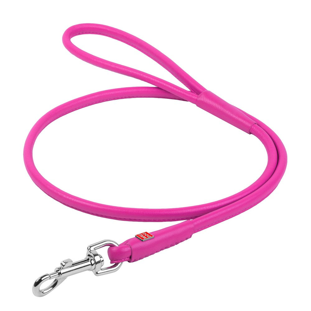 WAUDOG GLAM LEATHER ROUND LEAD 10MM PINK
