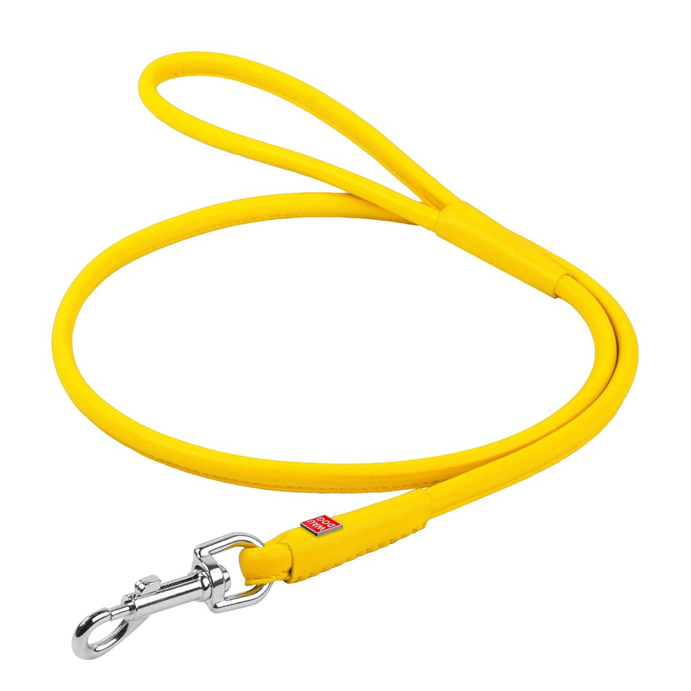 WAUDOG GLAM LEATHER ROUND LEAD 10MM YELLOW