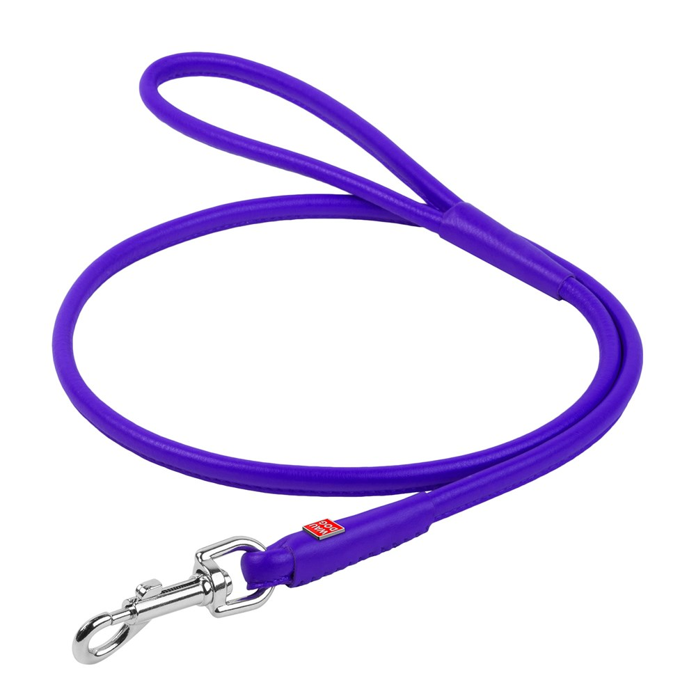 WAUDOG GLAM LEATHER ROUND LEAD 10MM PURPLE