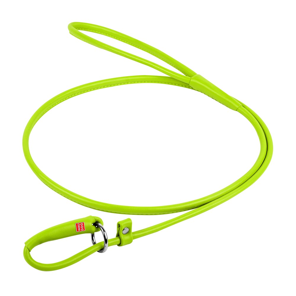 WAUDOG GLAM LEATHER SLIP LEAD 10MM GREEN
