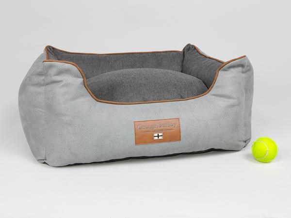 GEORGE BARCLAY SELBOURNE ORTHOPAEDIC DOG BED - SILVER/IRON - SMALL