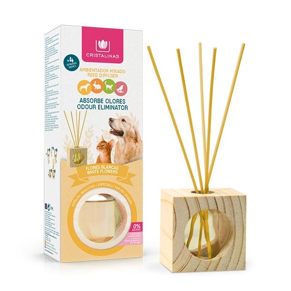 CRISTALINAS PET ODOUR ELIMINATOR REED DIFFUSER - WHITE FLOWERS - 30ML